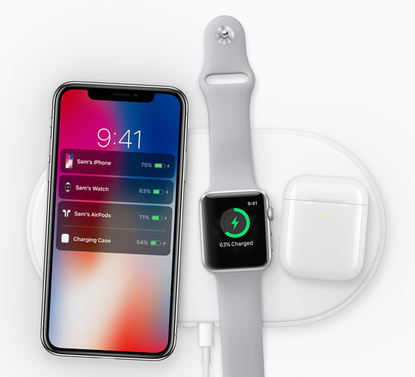 "iPhone X, Space Grey color: "" The new Apple-designed AirPower mat, coming in 2018, can charge iPhone, Apple Watch and AirPods simultaneously."""