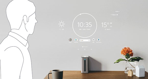 Sony Xperia Touch (vertical ultrashort-throw projection as shown above) automatically turns on when it senses your approach. Use it as a message board by the front door to keep everyone informed. Or set it up as a wall clock that appears when you're in the room. Image Courtesy of Sony