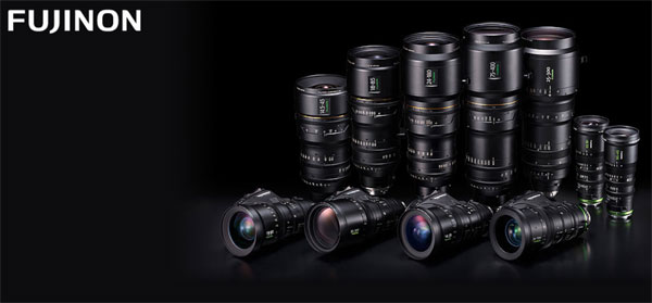 Fujinon: top row, left to right: 4K Premier Series (four lenses), 4K Cabrio 25-300mm lens, and MK Zoom Series (two lenses); bottom row: Cabrio 4K Series (four lenses)