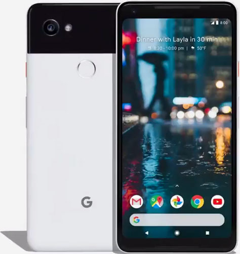 Google Pixel 2 XL, Black & White: back view (left), front view (right)