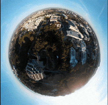 DJI Mavic Air's Asteroid mode: Asteroid starts with a spherical image that zooms in as it descends toward the subject on the ground: Image Courtesy of DJI
