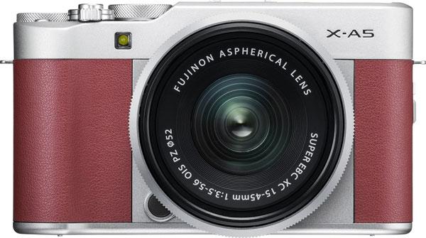 FUJIFILM X-A5, pink, with FUJINON XC15-45mmF3.5-5.6 OIS PZ lens, silver