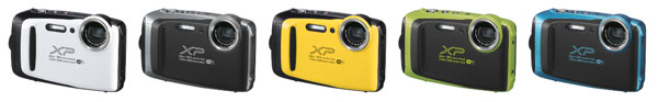 Fujifilm FinePix XP130 (left to right): white, dark silver, yellow, lime green, and sky blue