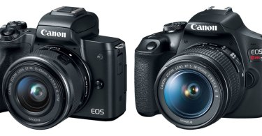 Canon EOS M50 (left) and EOS Rebel T7 (right)