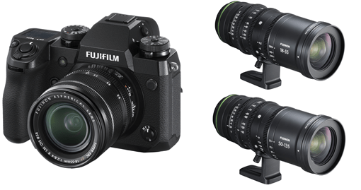 Fujifilm: X-H1 Camera (left) and Cinema Fujinon Lenses (right) MKX18-55MMT2.9 and MKX50-135MMT2.9