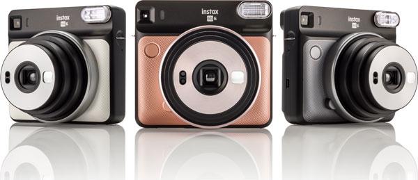 Fujifilm Instax® SQUARE SQ6 (left to right): Pearl White, Blush Gold and Graphite Gray