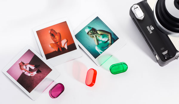Fujifilm Instax® SQUARE SQ6, white: Three color filters (left to right) that fit over the flash in purple, orange and green; ; Images Courtesy of Fujifilm