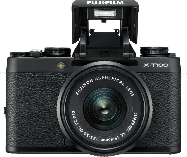 FUJIFILM X-T100, Black, as a kit with the FUJINON XC15-45mmF3.5-5.6 OIS PZ, as shown above