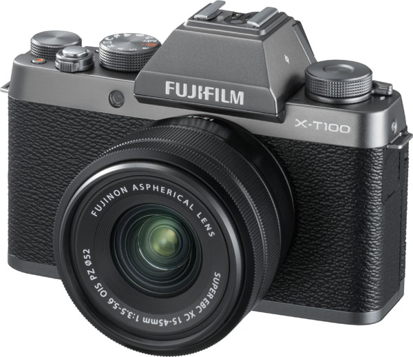 FUJIFILM X-T100, Dark Silver, as a kit with the FUJINON XC15-45mmF3.5-5.6 OIS PZ, as shown above