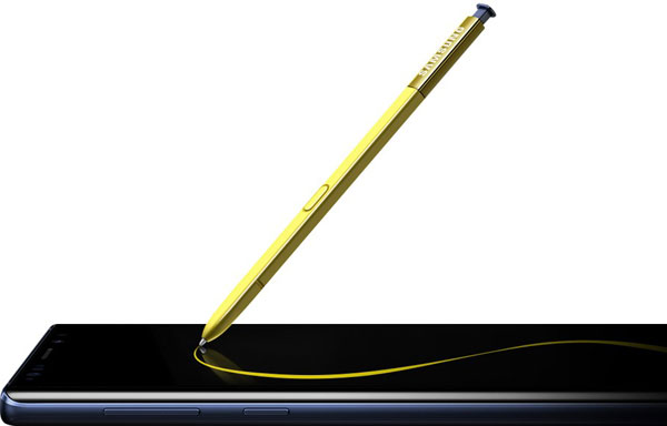 Samsung Galaxy Note9: Ocean Blue with a Yellow S Pen