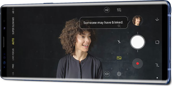 "Samsung Galaxy Note9's Flaw Detection: ""Rather than realizing later that your eyes were closed, with Flaw Detection you'll be immediately informed of any flaws in your photo so you can capture the memory with an additional shot."" Image Courtesy of Samsung"