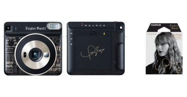 "Fujifilm (left to right): ""instax SQUARE SQ6"" Taylor Swift Edition (front view), ""instax SQUARE SQ6"" Taylor Swift Edition (back view), ""instax SQUARE Film"" Taylor Swift Edition"