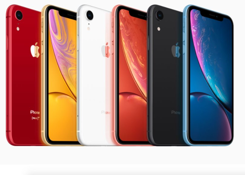 iPhone XR comes in six new finishes (left to right): (PRODUCT)RED, Yellow, White, Coral, Black, Blue