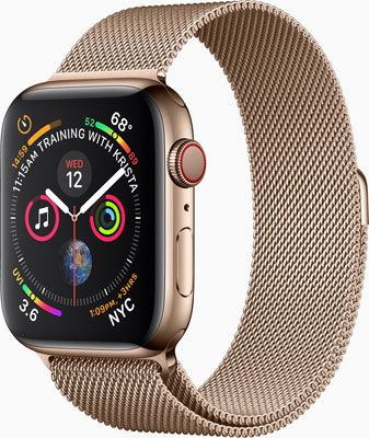 Apple Watch Series 4, gold stainless steel with matching Milanese band