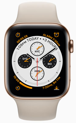 """Apple Watch Series 4: """"A gorgeous new gold stainless steel case joins existing silver and space black models."""""""