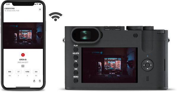 Leica Q-P: Buit-in Wi-Fi module for remote control and digital transfer of still pictures and video to a smartphone with the Leica FOTOS App