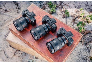 Sony full-frame mirrorless cameras include the following (left to right): a7 III, a9, and a7R III