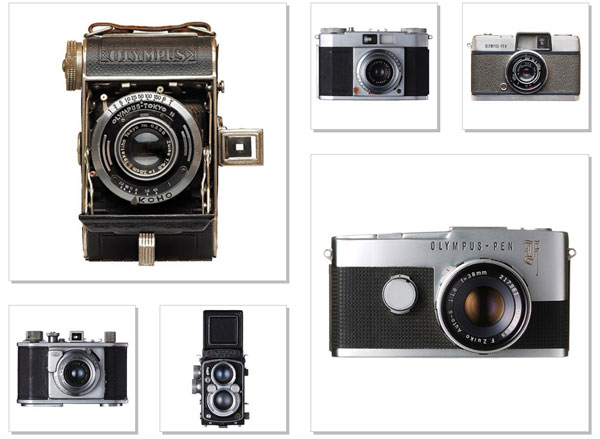 Olympus Cameras (left-hand side, counterclockwise): 1936, Semi-Olympus I was the first Olympus camera fitted with the newly developed Zuiko lens; 1948, Olympus 35 I was the first 35mm camera sold in the Japanese market; 1952, the Olympus Flex I was the first twin-lens reflex camera; (right-hand side, clockwise) - 1955, Olympus Wide camera for wide-angle photography; 1959, first-generation Olympus Pen camera; 1963, Olympus Pen F was the world's first and only half-frame system single-lens reflex camera