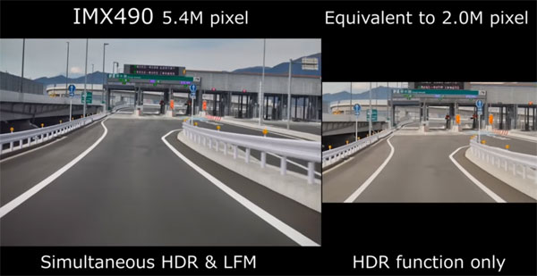 Sample comparison movies: 5.4-effective-megapixel*1 IMX490 (Left), Equivalment to 2.0-effective-megapixel CMOS image sensor (Right): Image grab from video above
