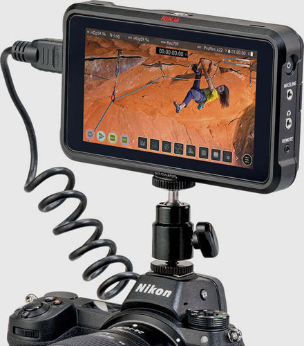 Nikon Z Series: Future Firmware Upgrade for Z 6 and Z 7 mirrorless cameras will provide a feature that works with the ATOMOS Ninja V (as shown above) to output video in RAW format: Image Courtesy of Nikon