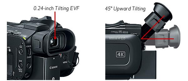 Canon VIXIA HF G50 4K UHD: Tiltable EVF