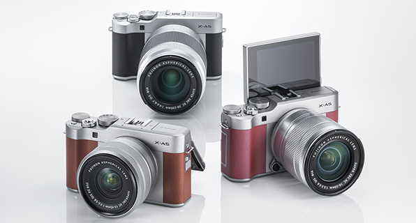 Fujifilm X-A5 (clockwise): Black, Pink, Brown