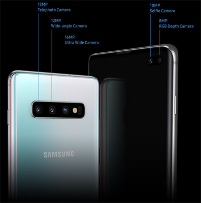 Samsung Galaxy S10's camera system includes a 123-degree field of view Ultra Wide Lens. Dual front camera only available on Galaxy S10+. Galaxy S10 and S10e have a single front camera.