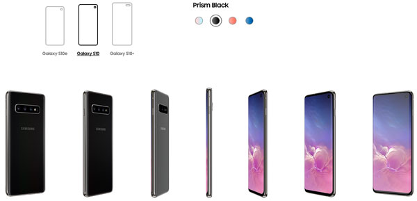 All three Samsung Galaxy S10 models are available in Prism Black