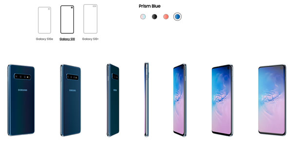 All three Samsung Galaxy S10 models are available in Prism Blue