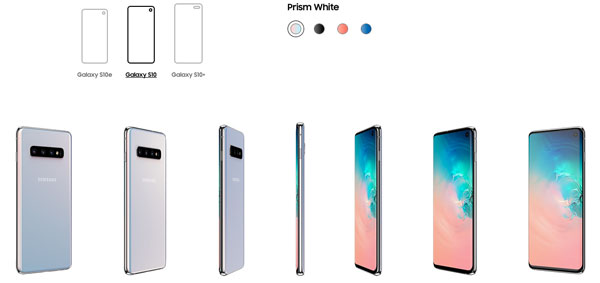 All three Samsung Galaxy S10 models are available in Prism White