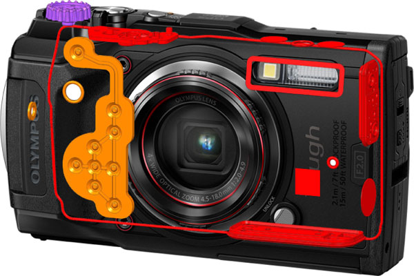 Olympus TOUGH TG-6 (red): Sealing throughout the entire camera body