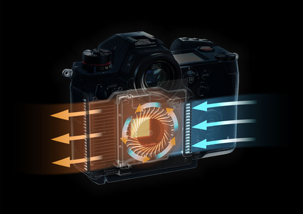 Panasonic LUMIX S1H: A a cooling fan with an innovative structure that efficiently disperses heat exclusively for the LUMIX S1H to support its limitless video recording capability.