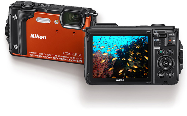 Nikon COOLPIX W300, orange, a high-performance outdoor model with support for 4K UHD movies & tough durability