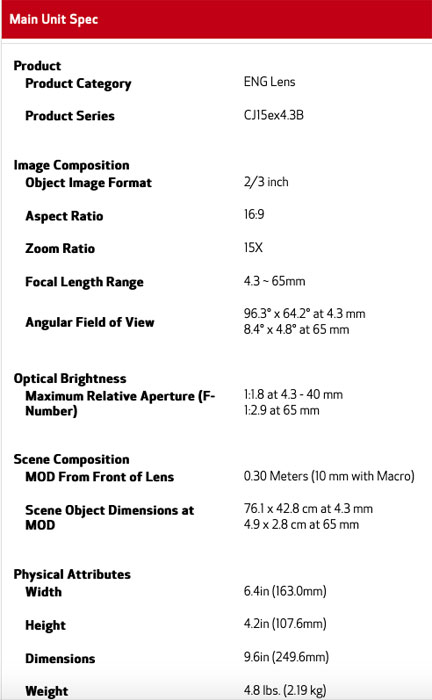 Canon CJ15ex4.3B Specifications