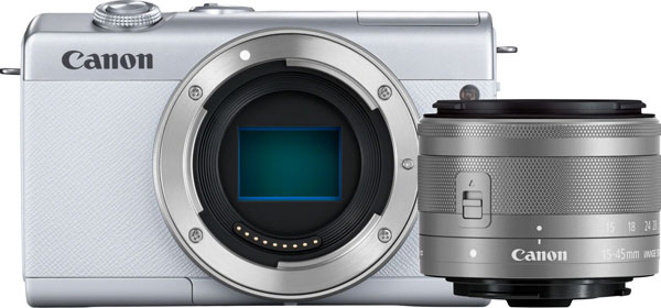 Canon EOS M200 Mirrorless Camera (White) and EF-M 15-45mm f/3.5-6.3 IS STM Lens (Silver)