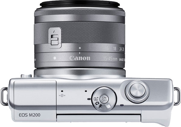 Canon EOS M200 Mirrorless Camera (White) with EF-M 15-45mm f/3.5-6.3 IS STM Lens (Silver), Top View