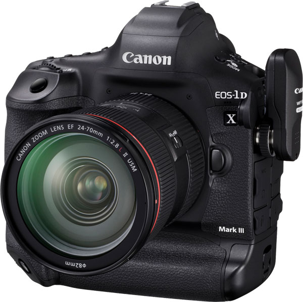 Canon EOS-1D X Mark III with optional wireless file transmitter WFT-E9
