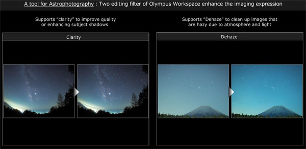 Clarity and Dehaze editing filters for astrophotography: Images Courtesy of Olympus