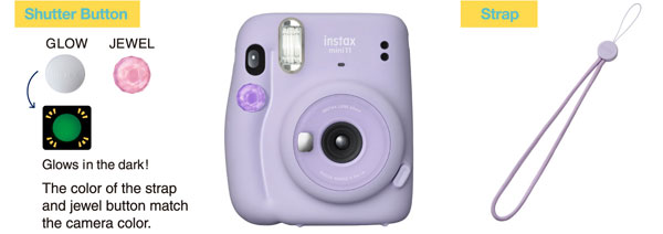 Fujifilm INSTAX Mini 11, Lilac Purple: Two shutter button accessories and a strap are included.