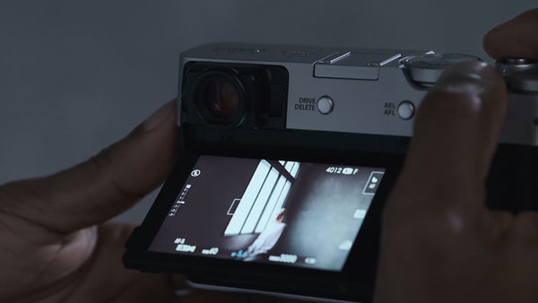 Fujifilm X100V, Silver: Touch-sensitive LCD. Image grab from video