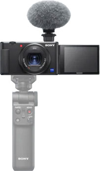 Sony ZV-1 with the optional Bluetooth wireless shooting grip GV-VPT2BT
