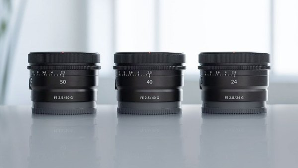 FE 50mm F2.5 G, FE 40mm F2.5 G and FE 24mm F2.8 G