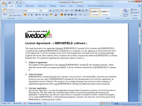Template in Microsoft® Word 2007. Für eine Vergrößerung bitte anklicken.