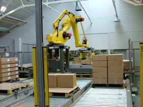 Automatic robotic palletising system for multi line