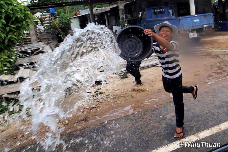KIds Playing Songkran water festival in Phuket