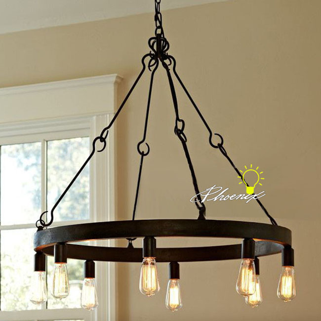 Antique Edison Bulbs Iron Chandelier In Rusted Finish 7980