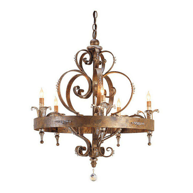 Antique Country Rusted Iron And Crystal Chandelier 11518