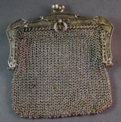 European Silver Chatelaine Purse with Airplane Detail 01