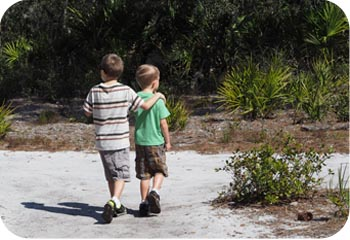2 boys walking