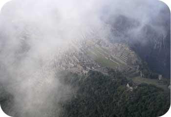 Machu picchu through the clouds
